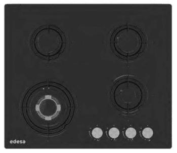 Placa de Gas Edesa EGG-6040 TI N en Cristal Negro con 4 Quemadores  | Gas Natural