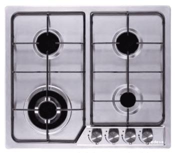 Placa de Gas Edesa EGX-6040 TI N Inoxidable con 4 Quemadores y 2 parrillas independientes sobre superfície de acero inoxidable  | Gas Natural