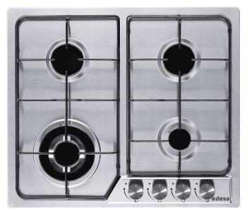 Placa de Gas Edesa EGX-6040 TI B Inoxidable de 60cm, con 4 Quemadores y 2 parrillas independientes sobre superfície de acero inoxidable    Gas Butano