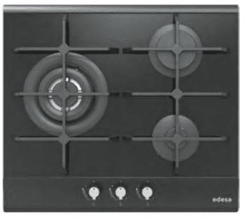 Placa de Gas Edesa EGG-6030 TI TR CI N en Cristal Negro con 3 Quemadores y 2 parrillas de hierro fundido  | Gas Natural