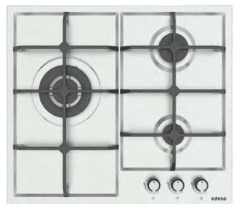 Placa de Gas Edesa EGX-6030 TI TR CI N Inoxidable con 3 Quemadores y 2 parrillas de hierro fundido  | Gas Natural