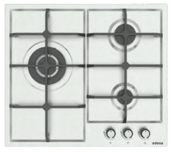 Placa de Gas Edesa EGX-6030 TI TR CI B Inoxidable con 3 Quemadores y 2 parrillas de hierro fundido  | Gas Butano
