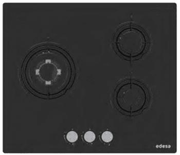 Placa de Gas Edesa EGG-6030 TI N en Cristal Negro con 3 Quemadores y 3 parrillas independientes | Gas Natural