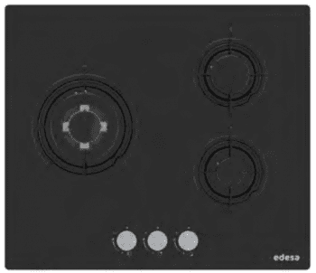 Placa de Gas Edesa EGG-6030 TI B en Cristal Negro con 3 Quemadores y 3 parrillas independientes | Gas Butano