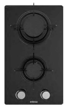 Placa de Gas Modular Edesa EGG-3020 TI N en Cristal Negro con 2 Quemadores y 2 parrillas independientes | Gas Natural y Butano