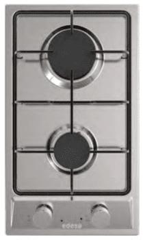 Placa de Gas Modular Edesa EGX-3020 TI N Inoxidable con 2 Quemadores y 1 parrilla sobre superfície Inoxidable | Gas Natural y Butano