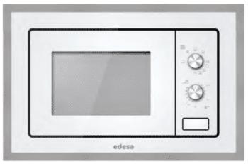 Microondas Integrable Edesa EMW-2010-IG XWH Blanco de 20 L con 5 niveles de potencia a 800 W y Grill a 1000 W