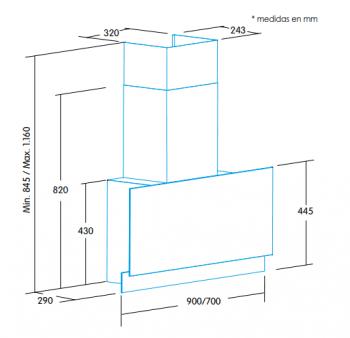 Campana de Pared Edesa ECV-7832 GBK Negra de 70 cm con 4 niveles + función turbo a 820 m³/h | Clase A+ - 2