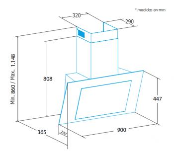 Campana de Pared Edesa ECV-9831 GBK Negra de 90 cm con 3 niveles + función turbo a 850 m³/h | Clase A - 2