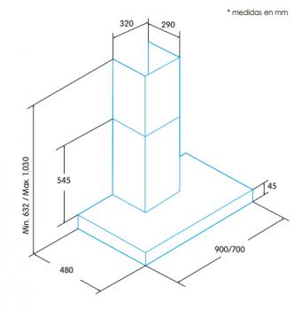 Campana de Pared Edesa ECB-7831 XGBK Negra de 70 cm con 3 niveles + función turbo a 850 m³/h | Clase A - 2
