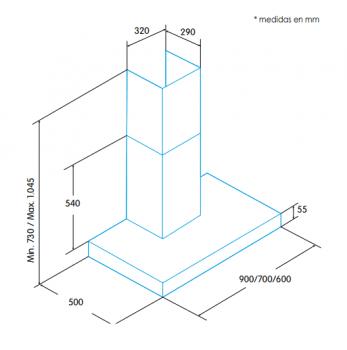 Campana de Pared Edesa ECB-6611 X Inoxidable de 60 cm con 3 niveles a 645 m³/h   Clase C - 2