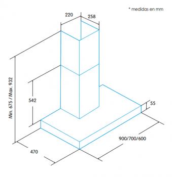 Campana de Pared Edesa ECB-9411 X Inoxidable de 90 cm con 3 niveles a 400 m³/h | Clase C - 2