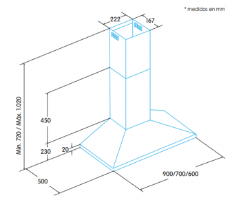 Campana de Pared Edesa ECP-7611 X Inoxidable de 70 cm con 3 niveles a 645 m³/h | Clase C - 2
