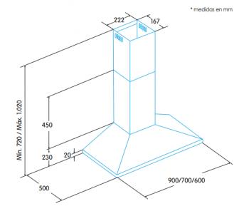 Campana de Pared Edesa ECP-6611 X Inoxidable de 60 cm con 3 niveles a 645 m³/h | Clase C - 2