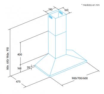 Campana de Pared Edesa ECP-7411 X Inoxidable de 70 cm con 3 niveles a 420 m³/h | Clase C - 2