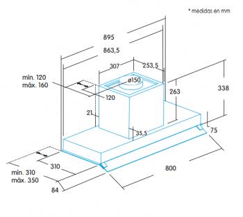 Grupo Filtrante Encastrable Edesa ECG-9832 X Inoxidable de 90 cm con 2 niveles + turbo a 820 m³/h | Clase A - 3