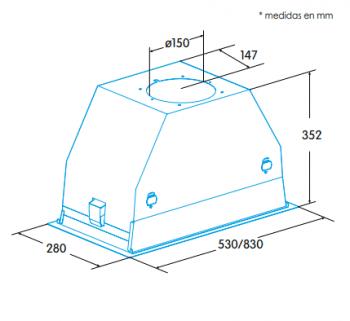 Grupo Filtrante Encastrable Edesa ECG-5831 GWH Blanco de 60 cm con 3 niveles + turbo a 820 m³/h | Clase A - 2