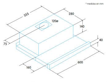 Campana Telescópica Extraíble Edesa ECT-6411 X Inoxidable de 60 cm con 2 niveles a 390 m³/h | Clase C - 2