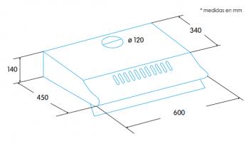 Campana Estándar Edesa ECS-6213 WH Blanca de 60 cm con 3 niveles a 300 m³/h | Clase D - 2