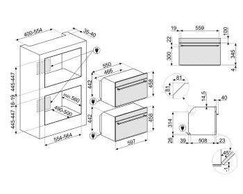 Horno Colonial Smeg SF4800MAO con Microondas   Antracita, Compacto 45 cm, Grill a 1500 W, con 5 funciones de cocción - 4