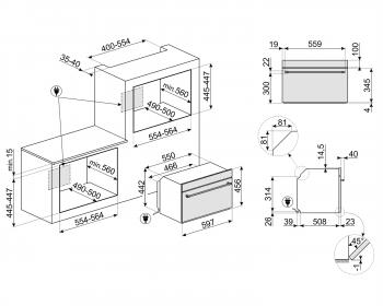 Horno Colonial Smeg SF4800MPO con Microondas | Crema, Compacto 45 cm, Grill a 1500 W, con 5 funciones de cocción - 2