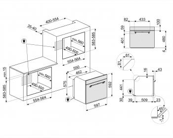 Horno Cortina Smeg SFP750BSPZ Pirolítico Blanco, de 60 cm con 65 L, 9 funciones de cocción | Clase A - 3