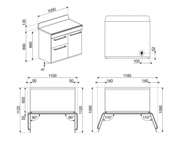 Cocina Victoria Smeg TR103IP Crema de 100 cm, Encimera de Inducción con 6 Zonas y 3 Hornos Termoventilados   Clase A - 4