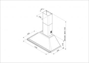 Campana de Pared Smeg KTR110XE Inoxidable, de 110 cm, con 3 niveles de extracción a 784 m³/h máx. | Clase A - 2