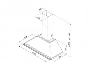 Campana de Pared Smeg KT110GRE Gris, de 110 cm, con 3 niveles de extracción a 784 m³/h máx. | Clase A - 2