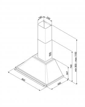 Campana de Pared Smeg KT90GRE Gris, de 90 cm, con 3 niveles de extracción a 788 m³/h máx. | Clase A - 2