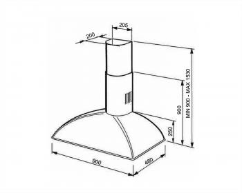 Campana de Pared Smeg KS89POE Crema, de 90 cm, con 3 niveles de extracción a 788 m³/h máx.   Clase A - 3