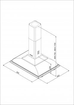 Campana de Techo Isla Smeg KCI19AOE Antracita, de 90 cm, con 3 niveles de extracción a 796 m³/h máx. | Clase A - 3