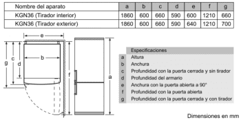 Frigorífico Combi VarioStyle Bosch KVN39IGEA Gris piedra, de 203 x 60 cm | Puertas personalizables | Clase E - 12