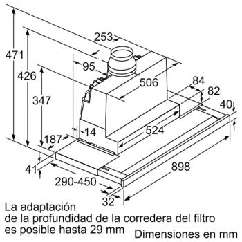 Campana Telescópica Bosch DFS097K51 Inoxidable, de 90 cm, con 5 niveles de extracción a 395 m³/h máx. | Motor EcoSilence Clase B - 6