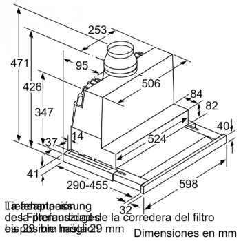 Campana Telescópica Bosch DFS067K51 Inoxidable, de 60 cm, con 5 niveles de extracción a 392 m³/h máx. | Motor EcoSilence Clase A - 6