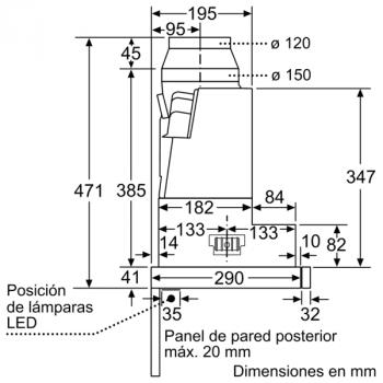 Campana Telescópica Bosch DFS067K51 Inoxidable, de 60 cm, con 5 niveles de extracción a 392 m³/h máx. | Motor EcoSilence Clase A - 11