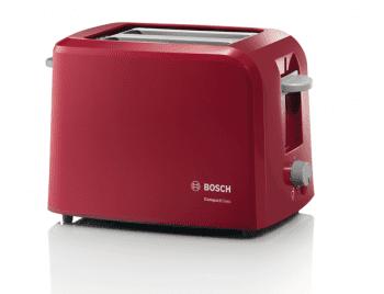 Tostador corto Bosch TAT3A014 | CompactClass | 1 rebanada | Calienta-panecillos integrado | Rojo