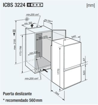 Frigorífico Combi Integrable Liebherr ICBS-3224-22   SmartFrost   BioFresh   Puerta deslizante   Clase F - 3