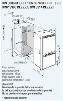 Frigorifico Combi Integrable Liebherr IN ICN-3314 | No Frost | Comfort | Clase F - 4