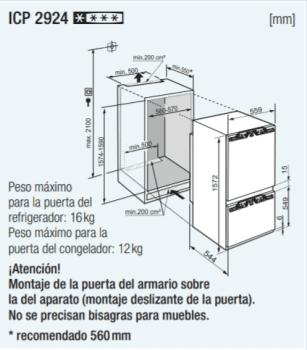 Frigorifico Combi Integrable Liebherr IN ICP-2924-21   159x57x55cm   SmartFrost   Clase D - 2
