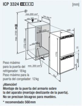 Frigorífico Combi Integrable Liebherr IN ICP-3324-21 | BioCool | SmartFrost | Puerta Fija | Clase D - 2