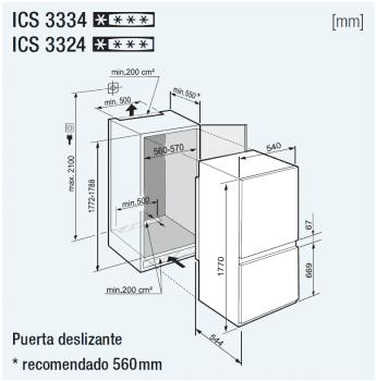 Frigorifico Combi Integrable Liebherr IN ICS-3334-21 | SmartFrost | BiCool | Puerta Deslizante | Clase E - 2