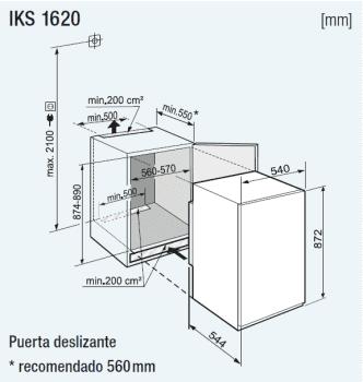 Frigorifico empotrable Integrable Liebherr IN IKS-1620 | BioCool | 87,4/89X56/57X55cm | Clase F - 2