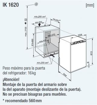 Frigorifico empotrable Integrable Liebherr IN SIBP-1650   BioFresh   87,4/89X56/57X55cm   Clase F - 2