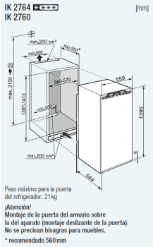 Frigorifico 1 puerta Integrable Liebherr IN IK-2764   BiCool   139,7/141,3X56/57X55cm   Con congelador   Clase F - 4