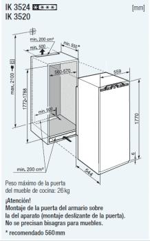 Frigorifico 1 puerta Integrable Liebherr IN IK-3524-21 | BioCool | 177,2/178,8X56/57X55cm | Con Congelador | Clase F - 3