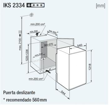 Frigorífico empotrable Integrable Liebherr IN IKS-2334 | BioCool | 122/123,2X56/57X55cm | Clase F - 3