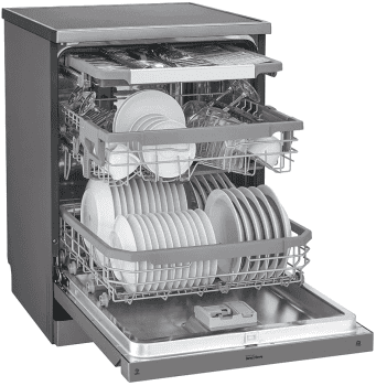 Lavavajillas LG DF325FP Inox Antihuellas | 85x60x60cm | QuadWash | 14 servicios | 3a bandeja | Clase E