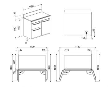 Cocina Victoria Smeg TR103IGR Gris de 100 cm, Encimera de Inducción con 6 Zonas y 3 Hornos Termoventilados   Clase A - 2
