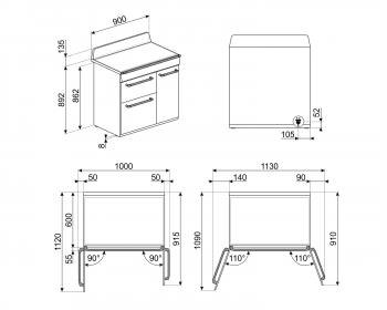 Cocina Victoria Smeg TR93IGR Gris de 90 cm, Encimera de Inducción con 5 Zonas y 3 Hornos Termoventilados con limpieza Vapor Clean | Clase A - 2